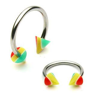 Stainless Steel Circular Barbell w/ Rasta Cones
