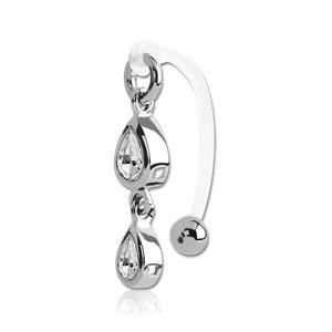 Curved Bioflex Barbell w/ Double Teardrop Gem Dangle