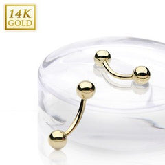 14g Yellow 14k Gold Curved Barbell