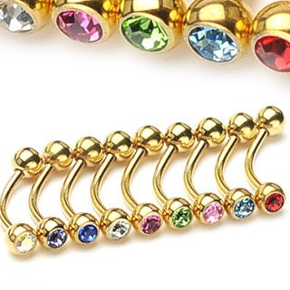 Curved Barbells - 16g Gold Plated Curved Barbell W/ Gem Balls