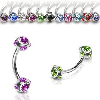 16g Stainless Multi-gem Curved Barbell