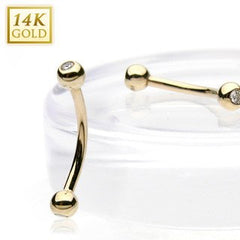 Curved Barbells - 16g Yellow 14k Gold Curved Barbell W/ CZ Gem Balls