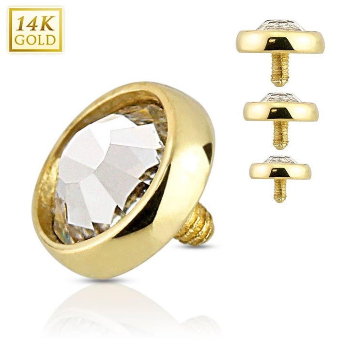 14g CZ Yellow 14k Gold Disc