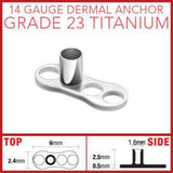 3-Hole Titanium Dermal Anchor Base