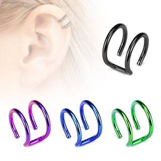 Anodized Double Ring Ear Cuff