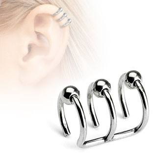 Triple Bead Ring Ear Cuff