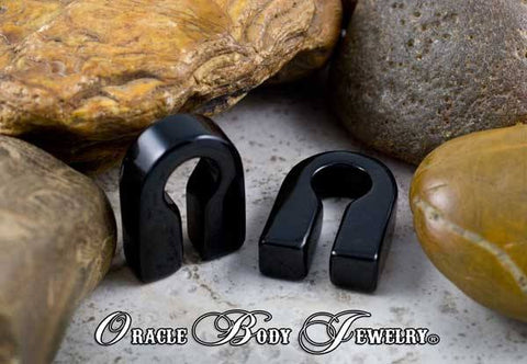 Ear Weights - Black Obsidian Keyhole Earweights By Oracle Body Jewelry