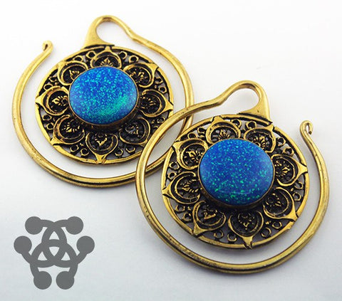 Blue Opal Mandala Hoops by Oracle Body Jewelry