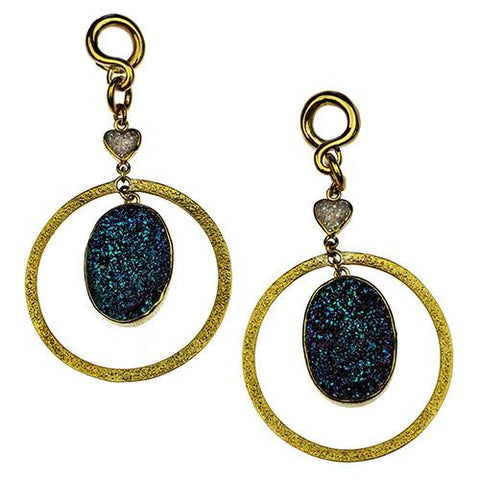 Ear Weights - Druzy Round Movement Dangles By Diablo Organics