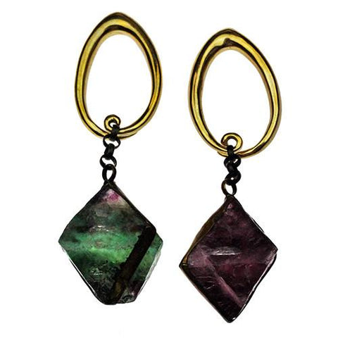 Ear Weights - Fluorite Cube Dangles By Diablo Organics