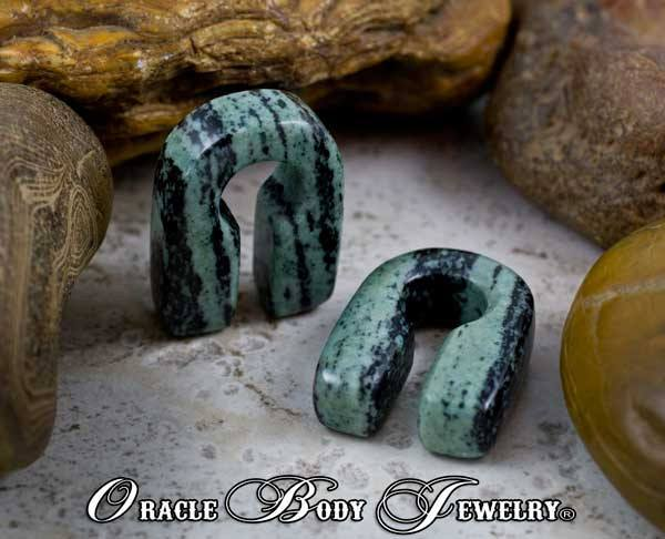 Green & Black Striped Jasper Keyholes by Oracle Body Jewelry