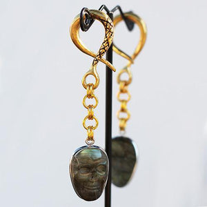 Ear Weights - Medium Labradorite Skull Dangle By Oracle Body Jewelry