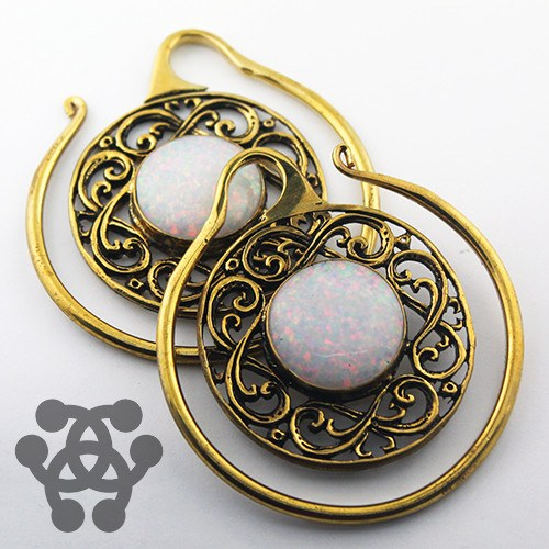 White Opal Celtic Hoops by Oracle Body Jewelry