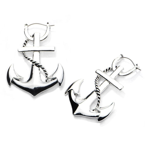 Anchor Tunnel Hoop Earrings