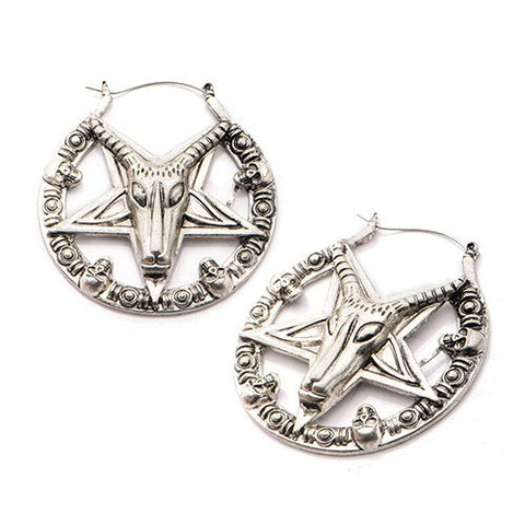 Baphomet Pentagram Tunnel Hoop Earrings