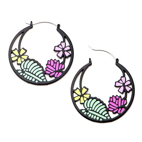 Black Flower Garden Tunnel Hoop Earrings