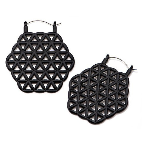 Black Flower of Life Tunnel Hoop Earrings