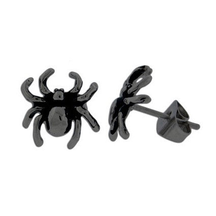 Black Spider Stainless Steel Stud Earrings