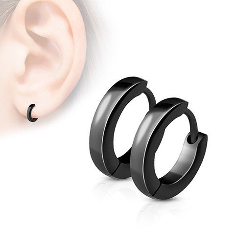 Blackline Small Hinged Hoop Earrings