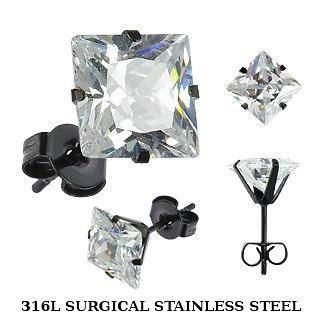 Blackline Stainless Steel Studs w/ Clear CZ Squares