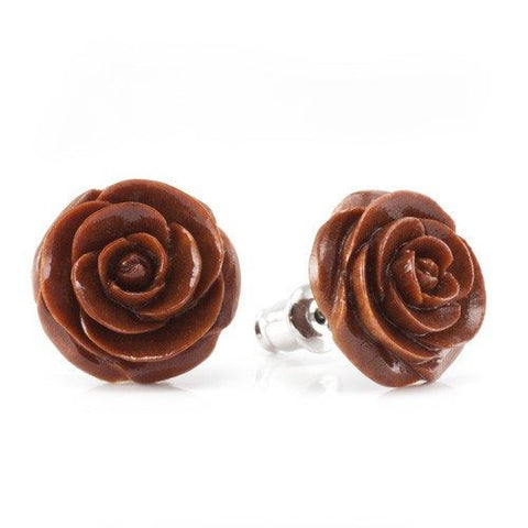 Chocolate Rose Earrings by Urban Star