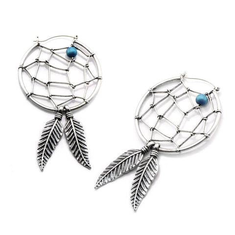 Dreamcatcher Tunnel Hoop Earrings