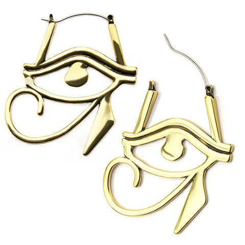 Egyptian Eye Tunnel Hoop Earrings