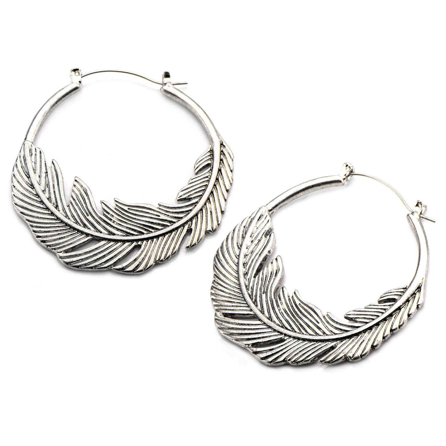 Feather Tunnel Hoop Earrings