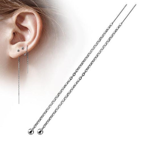 Earrings - Free Fall Chain Earrings W/ 3mm Ball & Bar Dangles