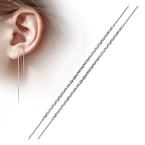 Earrings - Free Fall Chain Earrings W/ Double Bar Dangles