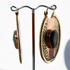 Earrings - Fusion Orbit Earrings W/ Kambaba Jasper By Oracle Body Jewelry