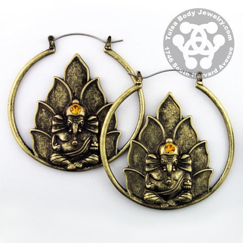 Ganesha Tunnel Hoop Earrings