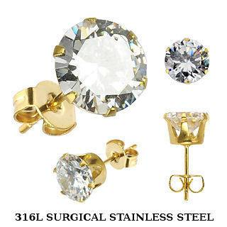 Gold Plated Stainless Studs w/ Clear CZ Rounds