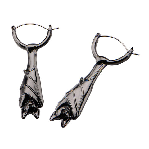 Hanging Bat Tunnel Hoop Earrings