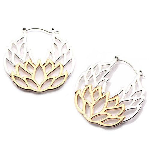 Lotus Tunnel Hoop Earrings