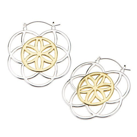 Silver & Gold Seed of Life Tunnel Hoop Earrings