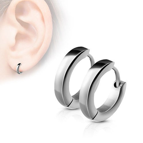 Stainless Small Hinged Hoop Earrings