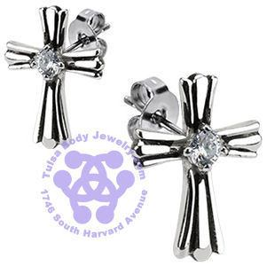 Stainless CZ Cross Earrings