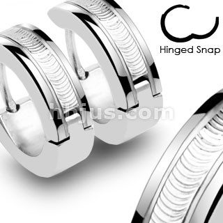 Stainless Steel Wire Center Hinged Hoop Earrings