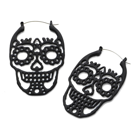 Sugar Skull Tunnel Hoop Earrings