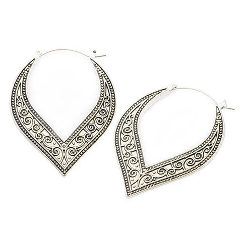 Swirl Tunnel Hoop Earrings