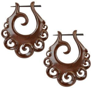 Wavy Coco Wood Earrings