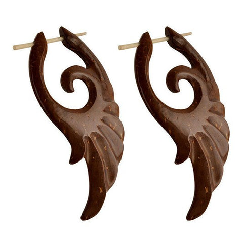 Winged Coco Wood Earrings