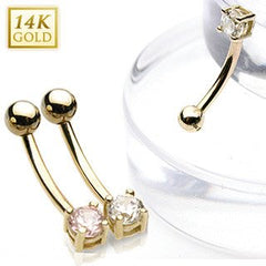 Eyebrow - 16g Yellow 14k Gold Eyebrow Barbell W/ CZ Round