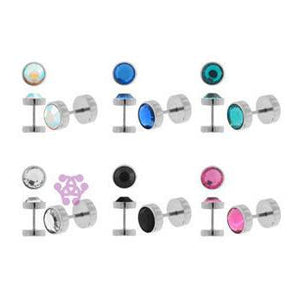 Stainless CZ Fake Plugs