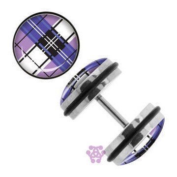 Purple Plaid Fake Plugs