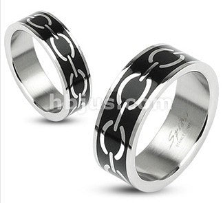 Black Enamel Links Ring