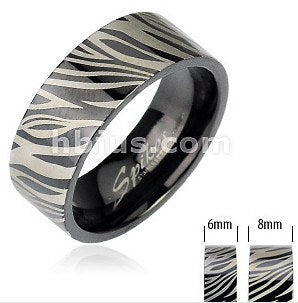 Black Zebra Print Ring