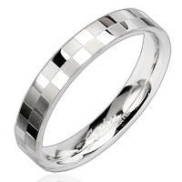 Stainless Checker Engraved Ring