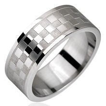 Stainless Checker Pattern Ring